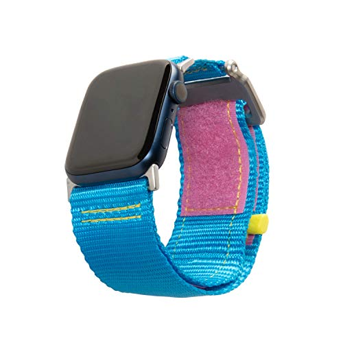 Urban Armor Gear Active Strap LE Pulsera para Apple Watch 42mm / 44mm (Watch SE, Series 6 / Series 5 / Series 4 / Series 3 / Series 2 / Series 1, Correa de nylon y acero inoxidable) 80s azul / rosa