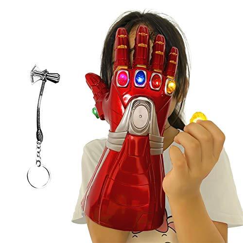 Aokairuisi Iron Man Infinity Gauntlet Kids Electronic Infinity Glove with Removable Magnet Infinity Stones-3 Flash mode.