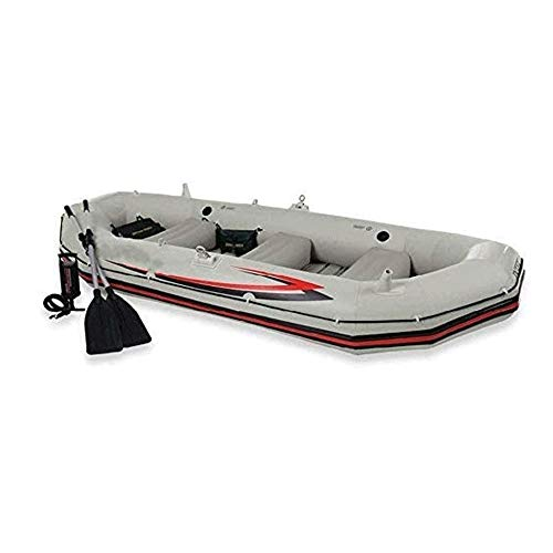 JNWEIYU Profesional Marinero 3-Persona Barco Inflable Kayak, Asalto embarcación neumática Grueso Inferior Duro anticolisión (Color: Gris, Tamaño: 328x145x48CM)