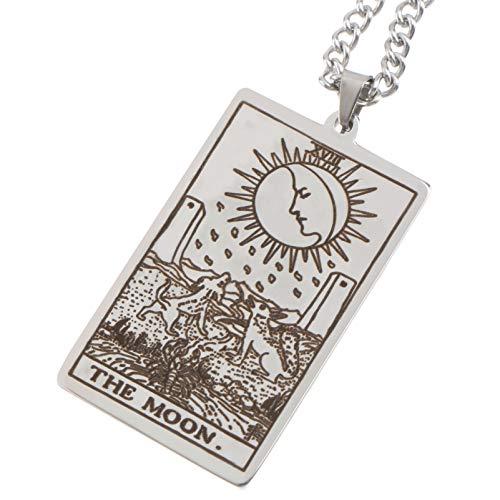 Happyyami Collar de Cartas de Tarot Colgante de Carta de Tarot de Acero Inoxidable Grabado Astrología Celta Adivinación Collar de Amuleto Mágico Medias de Navidad Embutidoras Color de Acero