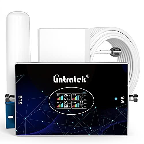 Lintratek Ripetitore Segnale Cellulare 4G, 4 Banda Amplificatore GSM 900 DCS1800 WCDMA2100 LTE2600MHz(Band 8/3/1/ 7) 70dB Ripetitore Cellulare 2G 3G 4G