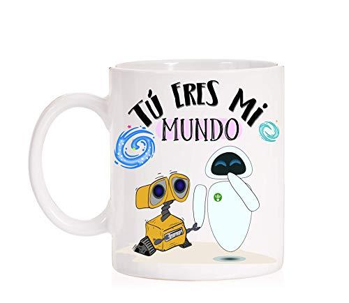FUNNY CUP Taza Tú Eres mi Mundo. Taza Wall e y Eva. Taza de Amor de R