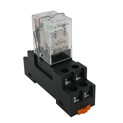 Taiss/AC 12V 24V 110V 220V DC 12V 24V 110V Bobina (puede elegir) Relé de alimentación electromagnético 10A 2DPT 8 pines 2NO+2NC LY2NJ con base de enchufe YJTF08A-E (garantía de calidad para 2 años)