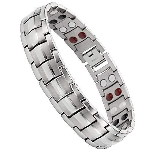 Jeracol Magnetisches Armband Magnetfeldtherapie-Armband für Herren mit doppelten 4 Gesundheitselementen Gesundheit Herren Titan Stahl Magnetische Armbänder für Arthritis Schmerzlinderung mit Entfernen