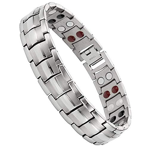 Jeracol Magnetic Bracelet Mens Magnetic Therapy Bracelet with Double 4 Health Elements Health Mens...