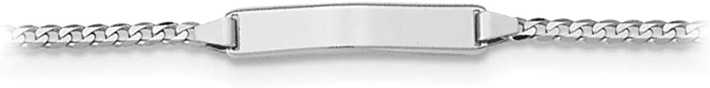 14k White Gold Flat Curb Link Personalized ID Bracelet, 7