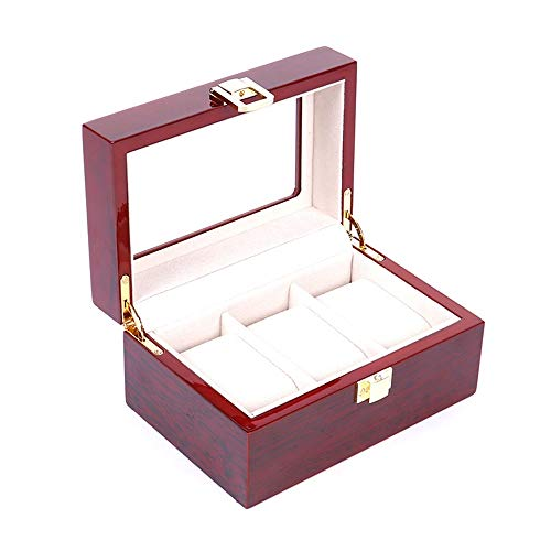 Aihifly Watch Boxes Watch Case Holder 3 Watch Box Display Window Jewellery Display Box Organizer With Compartments Transparent With Lid Removable Pads For Men Or Women for Men Women