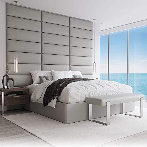 VANT Tapizado Cabecero - Paneles de pared de acento - Packs 4 - Fácil de instalar - Cama individual y doble (76cm Ancho, Vintage Leather Light Gray)