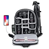 CADeN Camera Backpack Bag for DSLR/SLR Mirrorless Camera Waterproof with 15.6 inch Laptop Compartment, USB Charging Port, Tripod Holder, Rain Cover, Camera Case Compatible for Sony Canon Nikon Grey