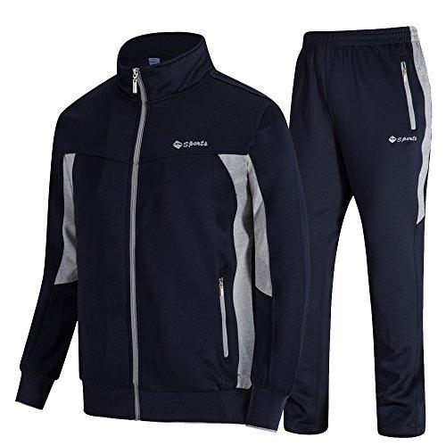 donhobo Herren Jogginganzug Trainingsanzug Sportanzug Fußball Sporthose Hoodie Hose für Gym Warm Tracksuit(02Blau,L)