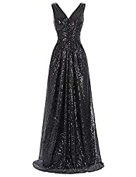 Sleeveless Maxi Sequin Black Gown