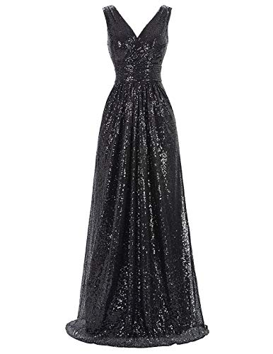 Homecoming Sleeveless Long Sequins Stunning Long Bodycon Wedding Dress,Black,14