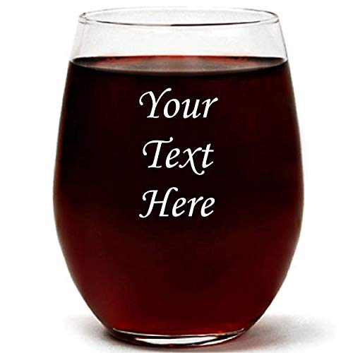 Personalized 15oz Stemless Wine Glass With Gift Box, Engraved With Your Custom Text (15oz)
