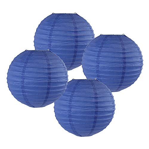 "Just Artifacts 8"" Royal Blue Chinese Japanese Paper Lanterns (Set of 4) - Click for more Chinese/Japanese Paper Lantern Colors & Sizes!"