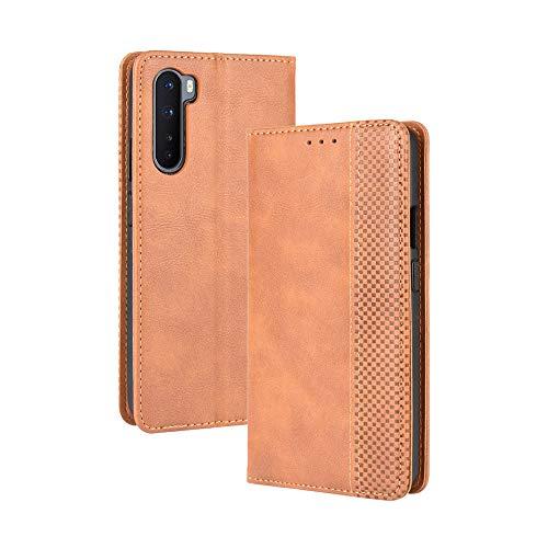VGANA Tasche Hülle für Oneplus Nord 5G, Brieftasche Handyhülle Retro Muster mit Magnetverschluss & Ständer Funktion Schutzhülle. Brown