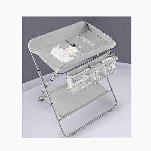 FHKL Kinderbett Windeltisch Multifunktions-Pflegetisch Badetisch Tragbarer Zusammenklappbarer Stauraum Höhenverstellbarer Wickeltisch,Grey