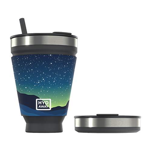Vaso plegable para bebidas HYDAWAY | Taza portátil, aislada, para bebidas calientes y frías para café, té, batidos, cerveza, cócteles, viajes, viajes diarios, camping, eventos | 473ml de capacidad