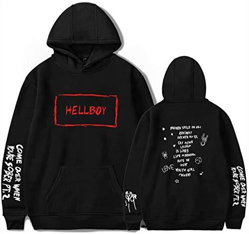 Damen Hip Pop Hoodies Herren Cool Rap Angels Printed Spotlight Street Style Pullover Unisex Langarm Casual Boy Hip Pop Fashion Pullover Sweatshirts Gr. X-Large, Hellboy Schwarz