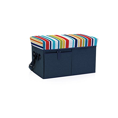 ONIVA - a Picnic Time Brand Ottoman Insulated Collapsible Cooler/Picnic Tote, Navy with Fun Stripes