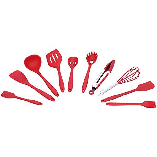Voluxe Herramienta de cocina, 10 piezas/set utensilios de cocina para utensilios de cocina (silicona roja juego de 10 piezas (incluyendo caja de color))