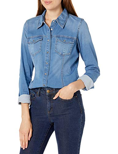 Guess Damen Slim Fit Denim Shirt Hemd mit Button-Down-Kragen, Vega, Mittel