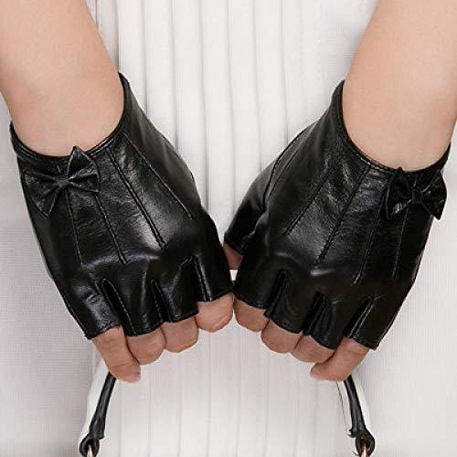 GUANAI Gant Gants d'automne et d'hiver True Ladies Black Half Finger Bow Gloves Black M