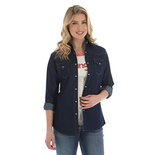 Wrangler Camisa de Western Fashion para Mujer - Azul -