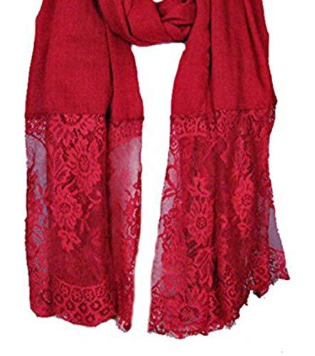 LadyMYP LadyMYP 90cmX190cm Einfarbiger Schal Stola aus Baumwolle und hochwertiger Spitze, mehrere Farben zur Wahl (Dunkelrot)