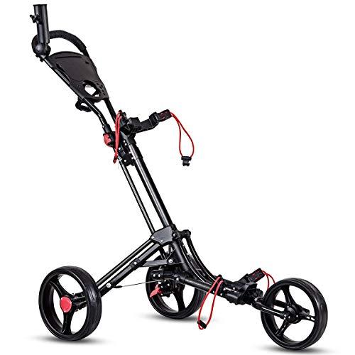 Tangkula Cart 3 Wheels Foldable Hand Cart Easy Push and Pull Cart