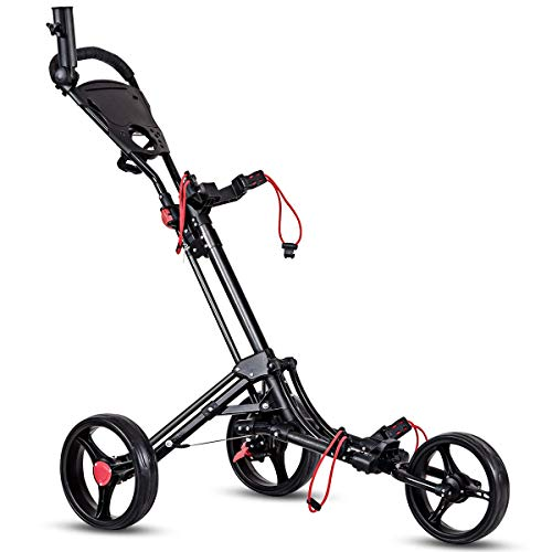 Tangkula Golf Push Cart 3 Wheels Foldable Hand Cart Easy Push and Pull Cart Trolley with Umbrella and Tee Holder, Quick Open and Close Golf Pull Cart
