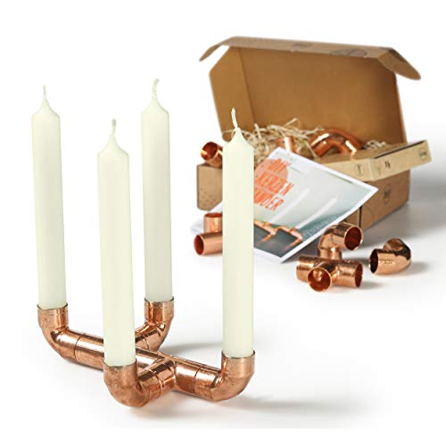 CREATE! by OBI DIY Kerzenständer | Dekorativer Kerzenhalter aus Kupfer zum Selberbauen inkl. 4 Kerzen