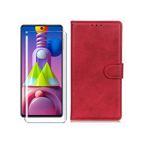 HYMY Hülle für LG K20 2019 + Schutzfolie - Rot Einfach Stil PU Leder Lederhülle Flip mit Brieftasche Geldbörse Card Slot Handyhülle Cover für LG K20 2019