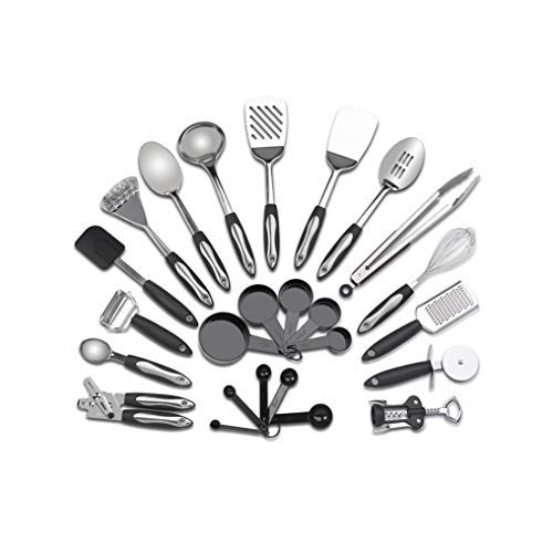 1790 Stainless Steel Kitchen Utensil Set - 25 Cooking Utensils - Nonstick Utensils Cookware Set with Spatula - Ideal for College Students Tool Set Gift