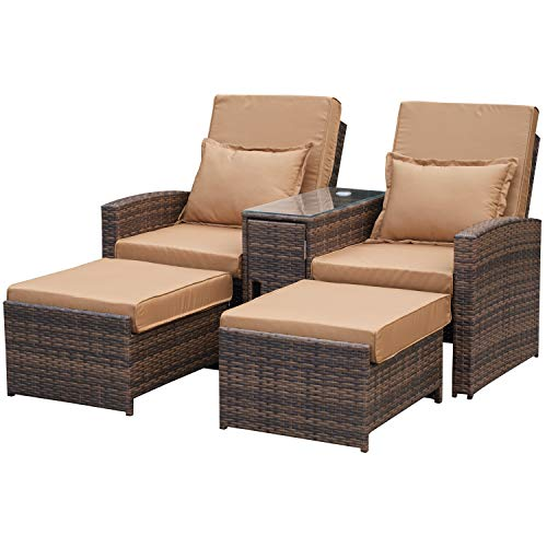 Outsunny Outdoor Garden Rattan Companion Sofa Chair & Stool Lounger Recliner Love Sunbed Daybed Patio Wicker Weave Furniture Set Already Assembled Brown