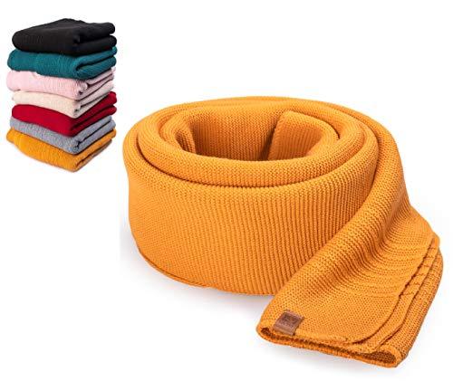 HEYO Damen Schal Winter Strickschal | H19603 | Weich Warm Gestrickt mit Leder Patch | Made IN EU (Senf)