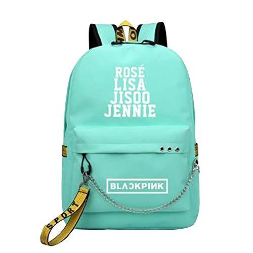 Unisex Blackpink Rucksack mit USB-Ladeanschluss Canvas Großer Schultasche Casual Daypacks Laptoptasche Reiserucksack College School Bookbag für Mädchen und Jungen