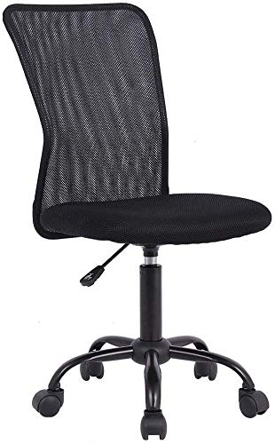 Best Ergonomic Cute Mesh Office Chair, Armless Lumbar Support, Chic Modern Desk PC Chair Black, Mid Back Adjustable Swivel for Home Office Conference Study Room Mesh Office Chair, Black Set of 1
