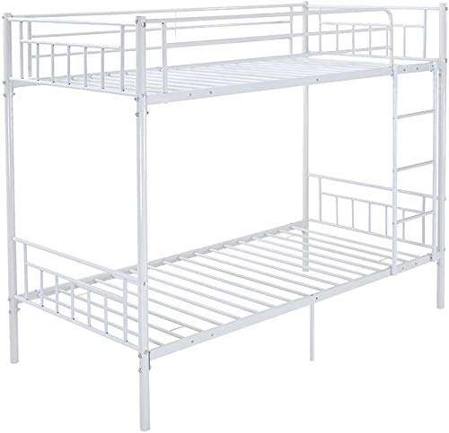 Marco único cama de metal literas 2 dobles Muebles de dormitorio infantil,White