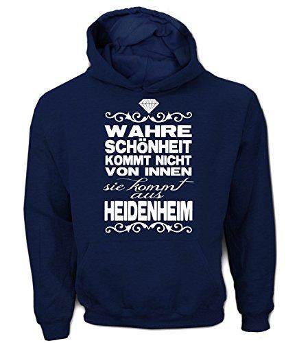 Artdiktat Herren Hoodie - Wahre Schönheit kommt Nicht von Innen - Sie kommt aus Heidenheim Größe XL, Navy