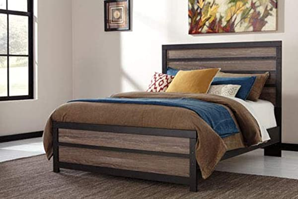 Ashley Furniture Signature Design Harlinton Bed Panel Rails Queen Size Contemporary Living Charcoal