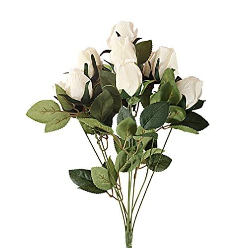 RoxNvm Paquete de Rosas Artificiales, Manojo de Rosas de Seda, Rosas Artificiales Flores Falsas Ramo de Novia para Boda Hogar Fiesta de cumpleaños Decoración de jardín (Blanco)