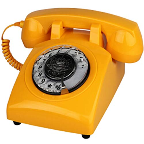 ZARTPMO TeléFono Retro MarcacióN Giratoria Estilo Antiguo De Los AñOs 70 TeléFono Fijo Antiguo, AutéNticos Tonos Retro (Amarillo)