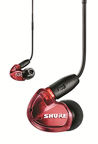 Shure SE535 Wired Sound Isolating Earbuds, High Definition Sound + Natural Bass, Three Drivers, Secure In-Ear Fit, Detachable Cable, Durable Quality, Compatible with Apple & Android Devices - Red
