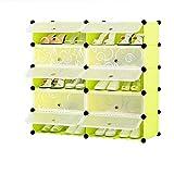 Yingji Schuhregal Groß Aufbewahrung Organizer Cube Schuhständer,Kunststoff Transparent Schuhkarton Kombination Schuh Aufbewahrungsbox Schublade Typ (grün,10 Kubus)