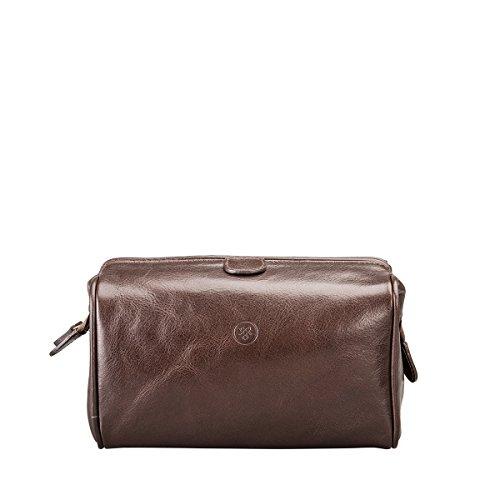 Maxwell ScottŸ Luxury Italian Leather Men's Toiletry Bag Medium (DunoM), Brown
