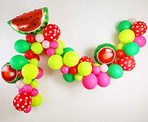 Watermelon Party Supplies - 80 Pack Matte Balloons Polka Dot Balloons Watermelon Foil Balloons Garland & Arch Kit for Watermelon Themed Party Decoration, Baby Shower, Birthday Party Supplies