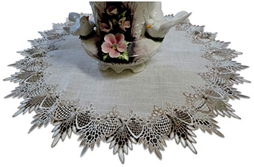Large 23 inch Doily Table Topper Dresser Scarf Neutral Earth Cocoa Tones European Lace