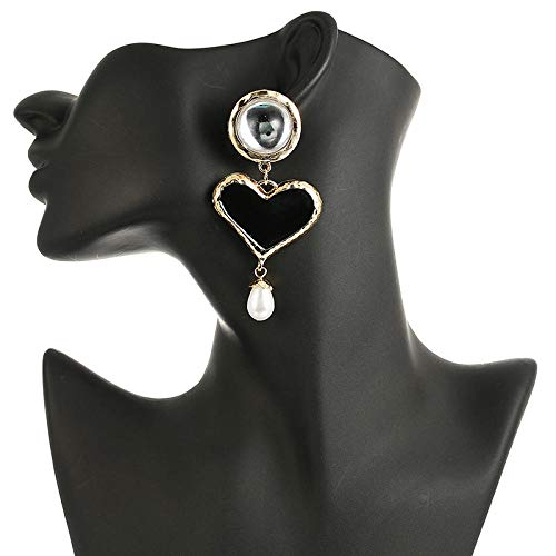 Erin Earring 128 Pendientes De Perlas De Simulación En Forma De Corazón Negro Exagerado Pendientes Colgantes De Metal para Mujer Fiesta De Bodas Regalo De San Valentín Joyas