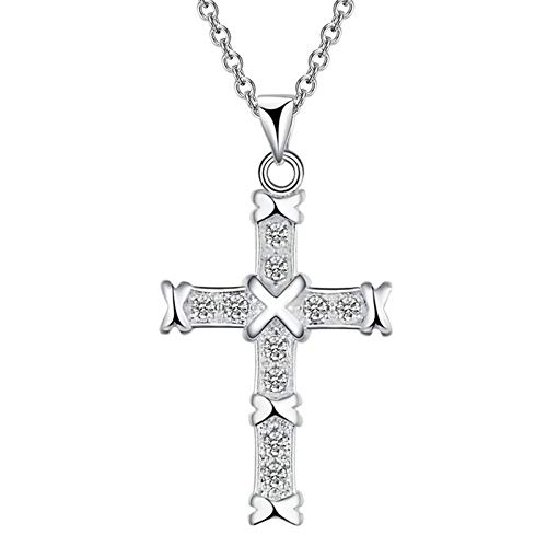Daesar Womens Necklace, Plated 18Ct White Gold Necklaces for Women Cross with White Cubic Zirconia Silver Necklace Pendant