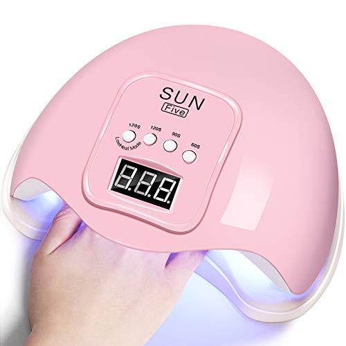Lámpara LED UV Uñas,Secador de Uñas,para Manicura y Pedicura, con 4 Temporizadores,Sensor Automático,Pantalla LCD, 48W
